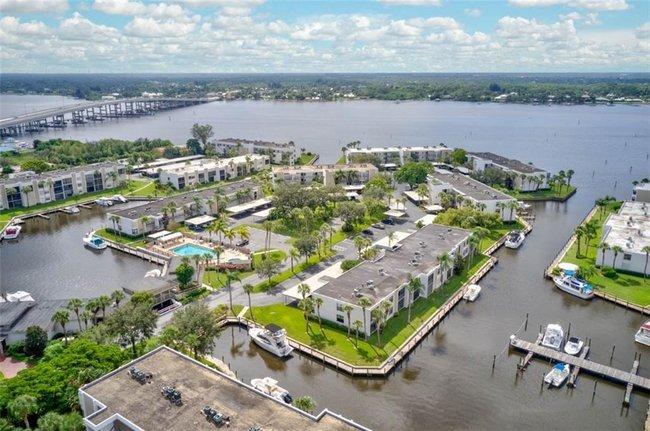 Aerial view of Circle Bay Waterfront Condos in Stuart Florida