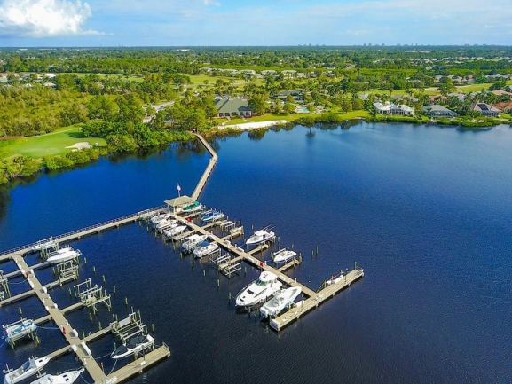 Aerial view of the docks in the  Ballantrae community of Port Saint Lucie