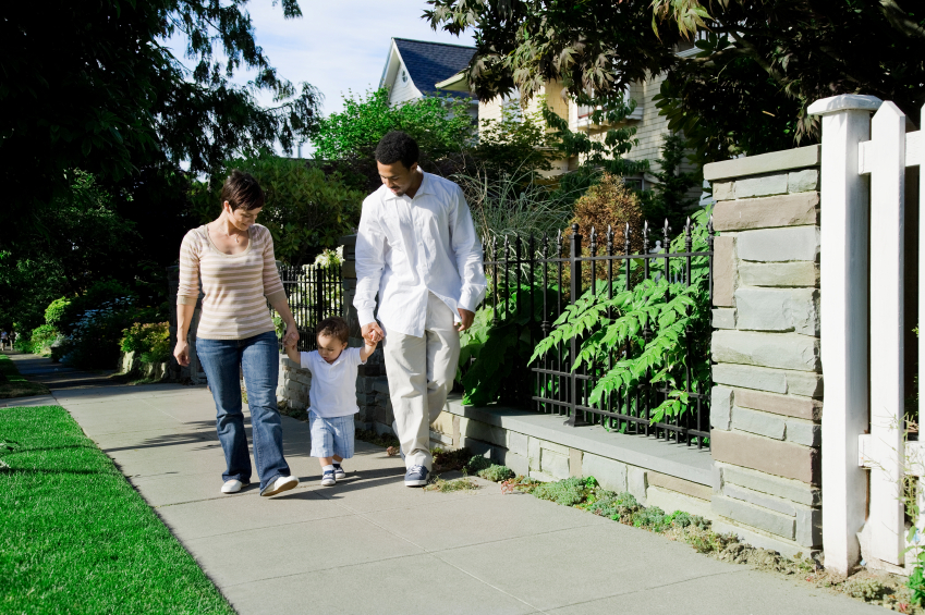 residents walking through neighborhood