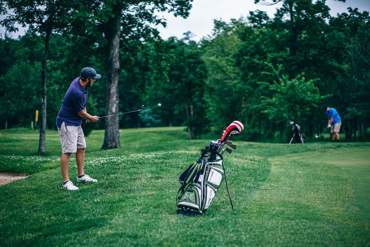A lush green golf course.