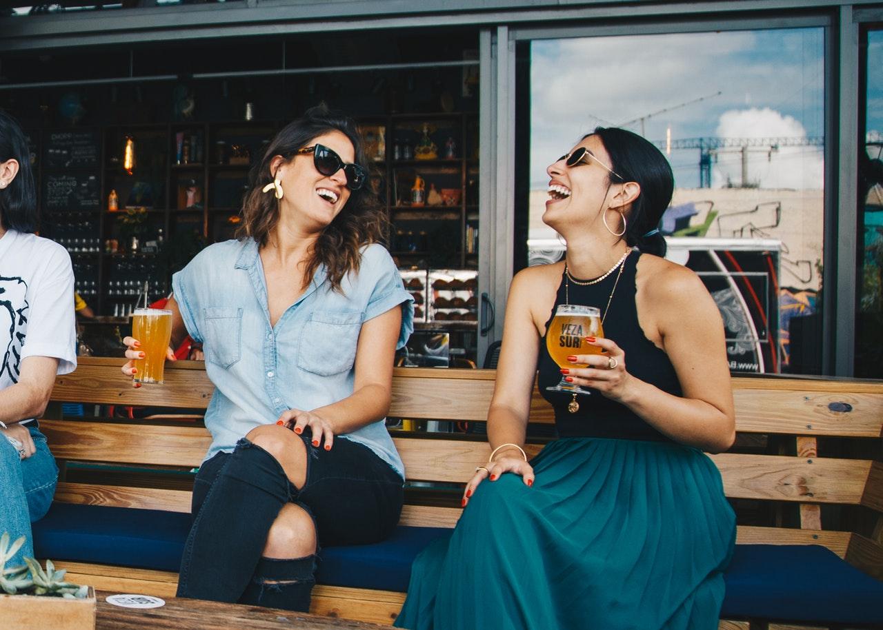 Friends enjoying beers.