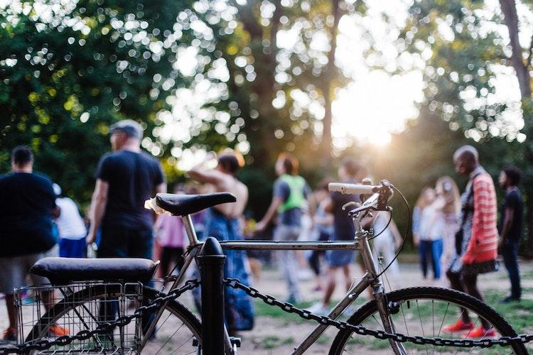 A bike in a park.