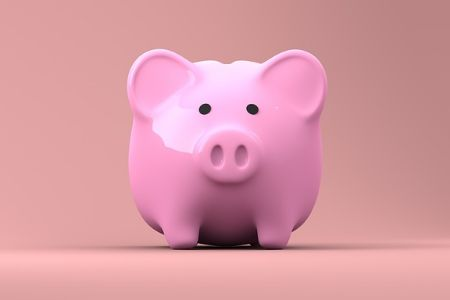 A pink piggy bank standing against a pink background.