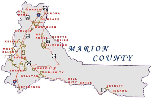 Map of Marion County showing each town