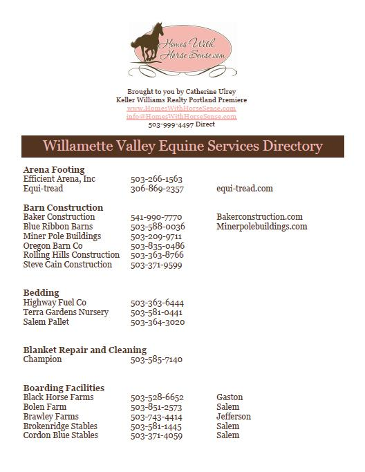 Click this link to open a printable directory of local equine services.
