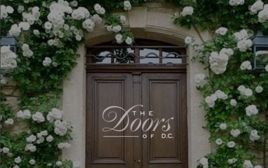 ornate doorway overlaid by The Doors logo