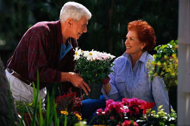 Timberlake neighborhood home owners enjoying their garden.