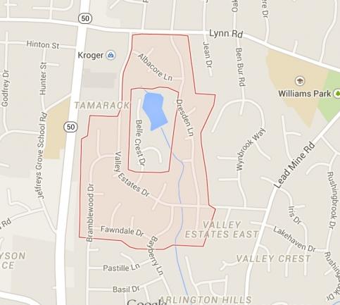 Valley Estates, Raleigh NC Map