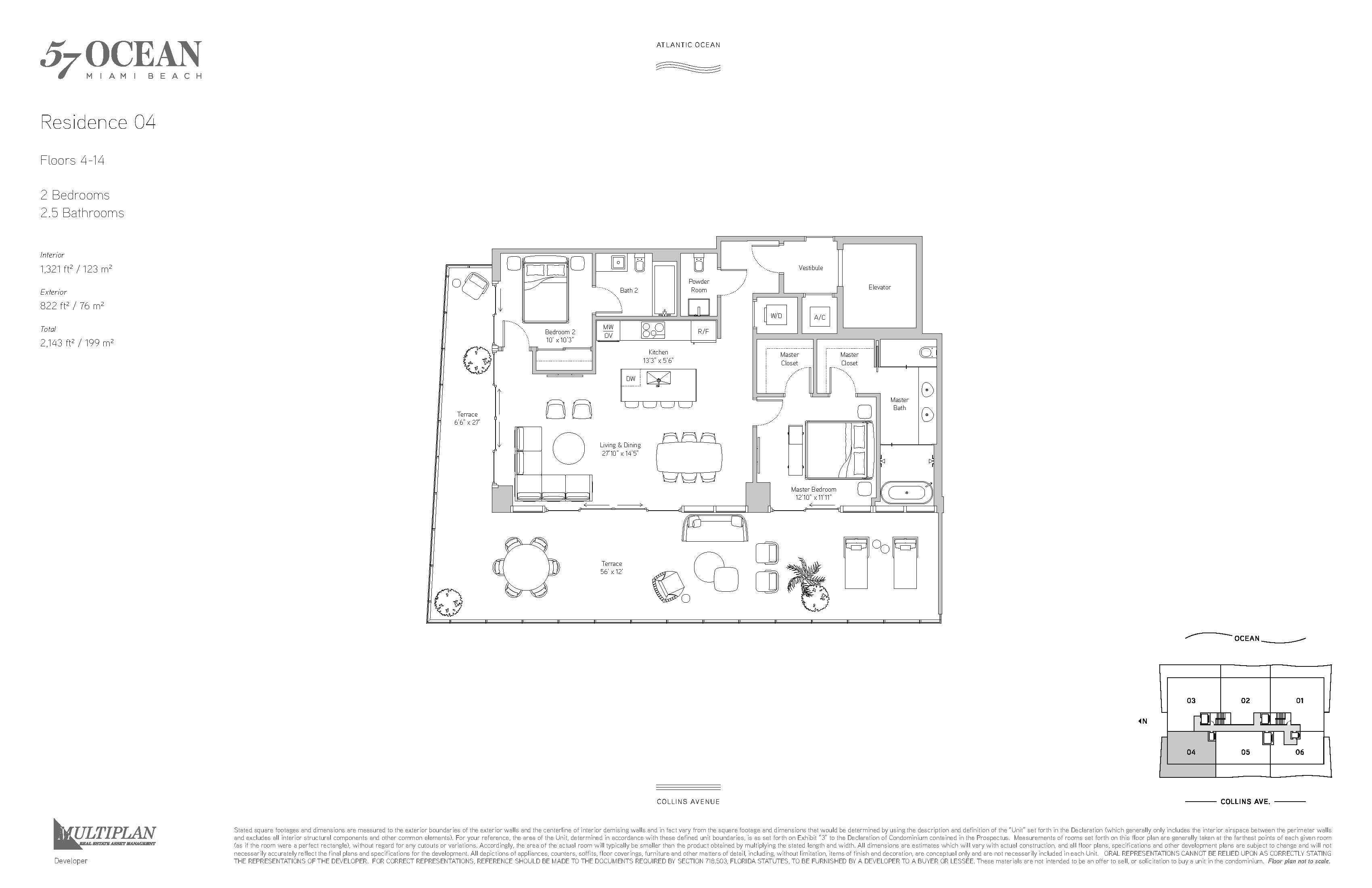 57 Ocean Condo - 2 Bedroom - 04-Line