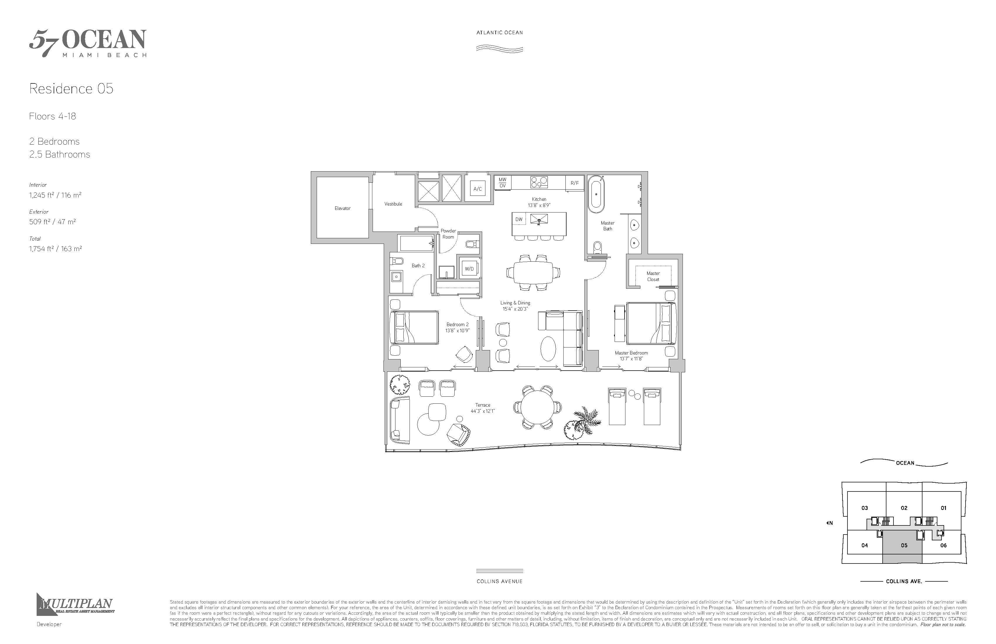 57 Ocean Condo - 2 Bedroom - 05-Line