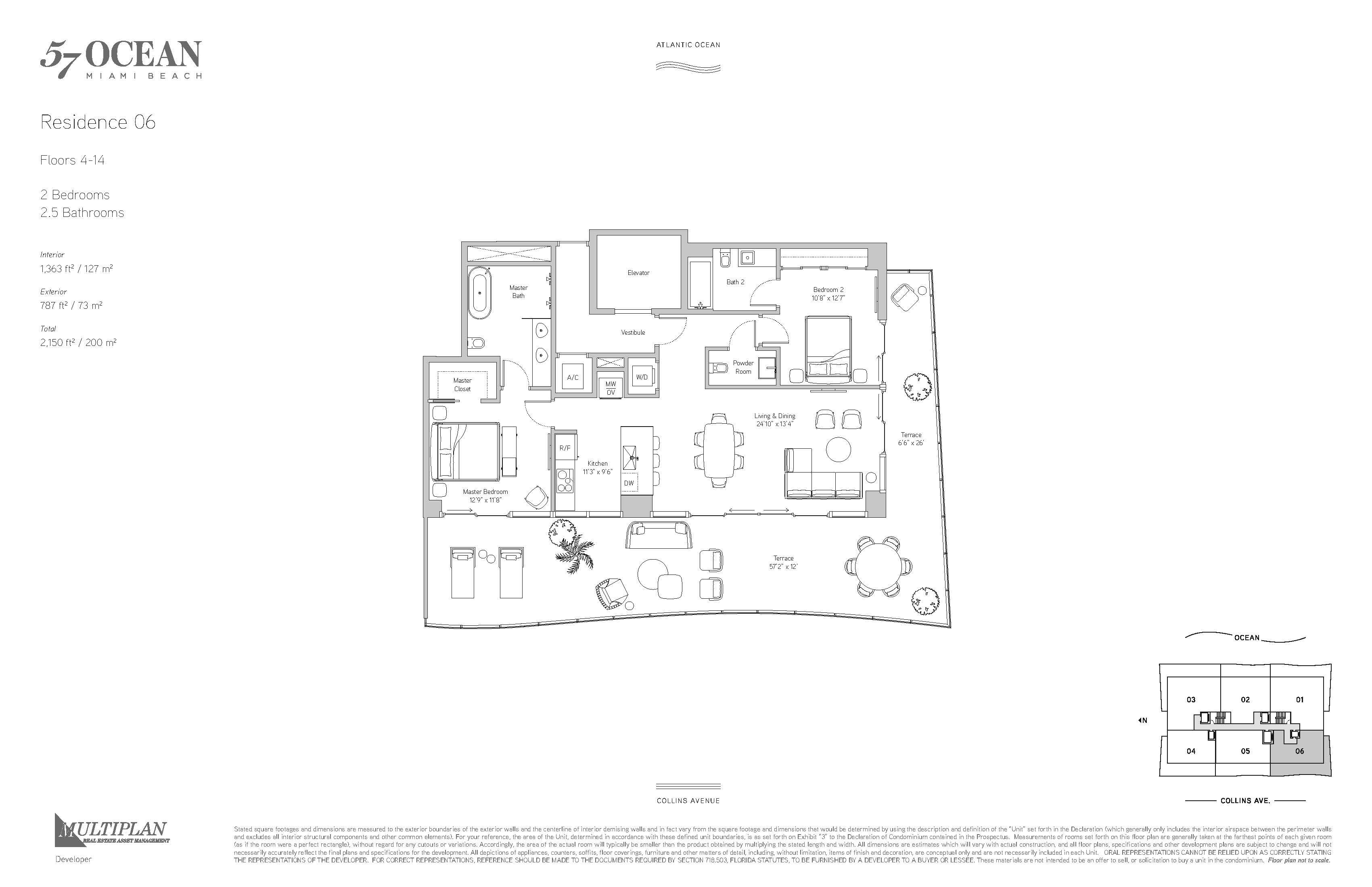 57 Ocean Condo - 2 Bedroom - 06-Line