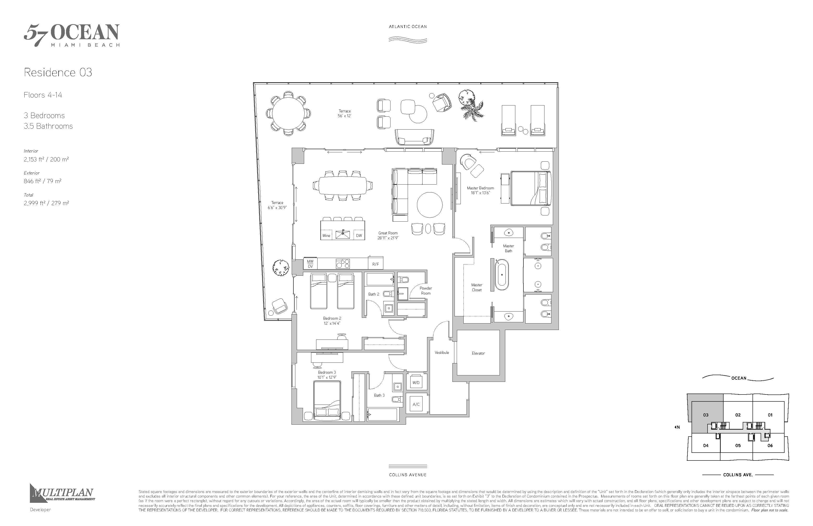 57 Ocean Condo - 3 Bedroom 03-Line