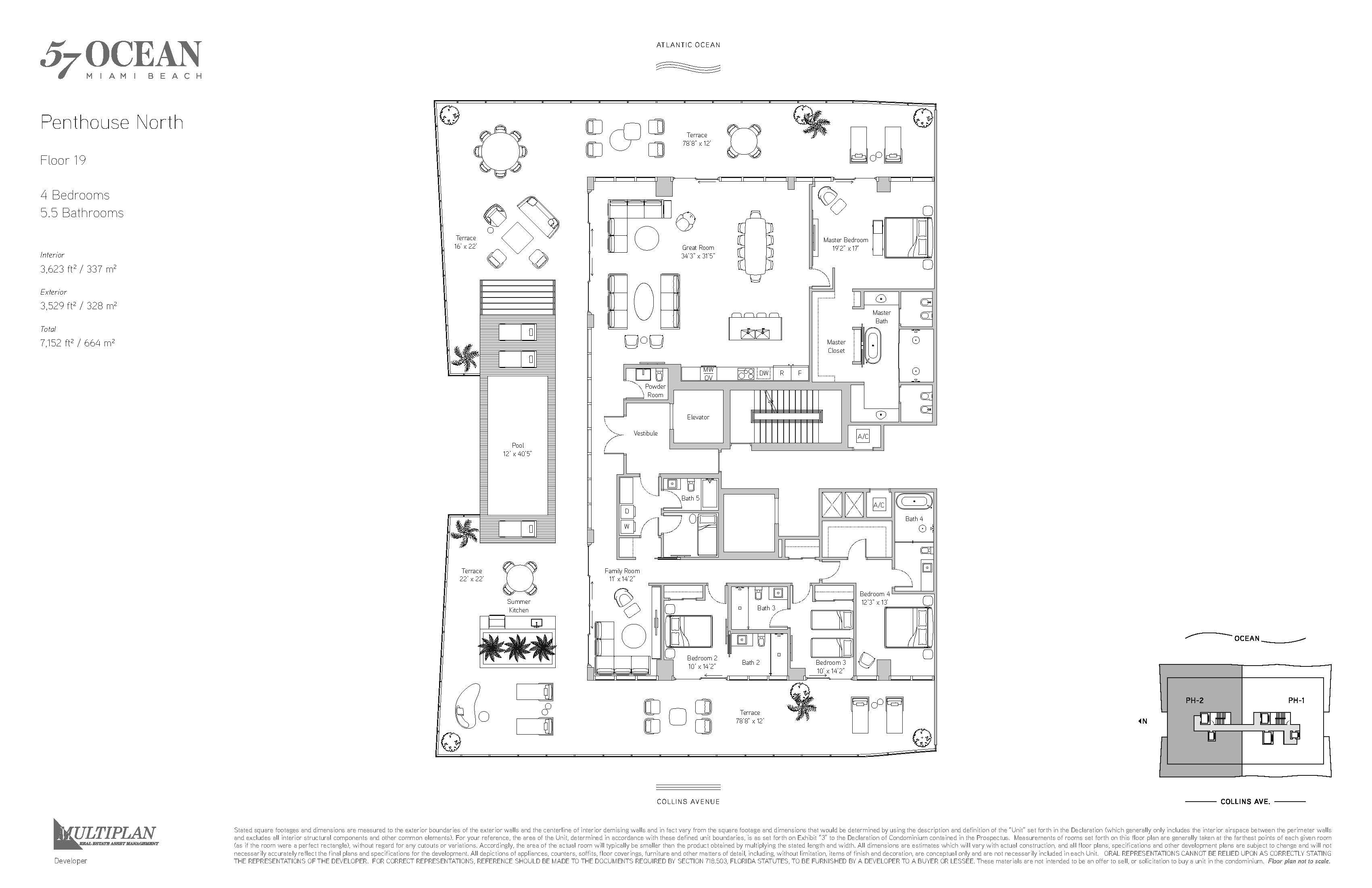 57 Ocean Miami Beach - Floor Plan - Penthouse North