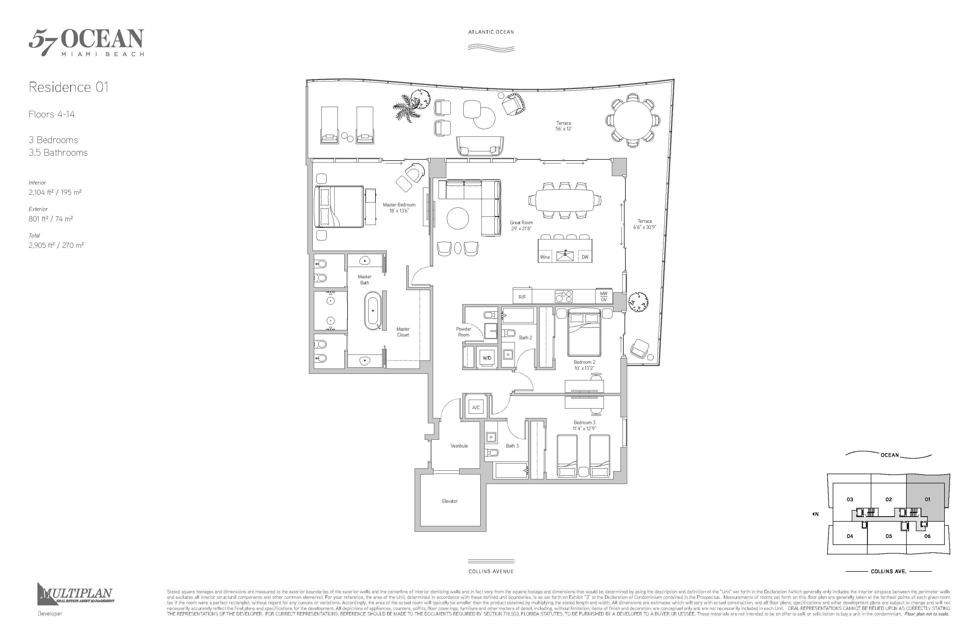 57 Ocean Condo - 3 Bedroom - 01-Line