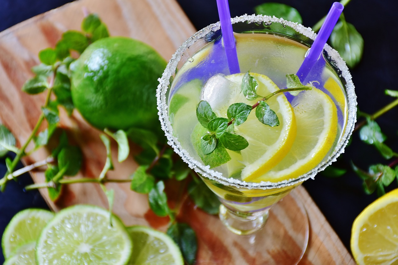 Lime mojito with fresh mint.