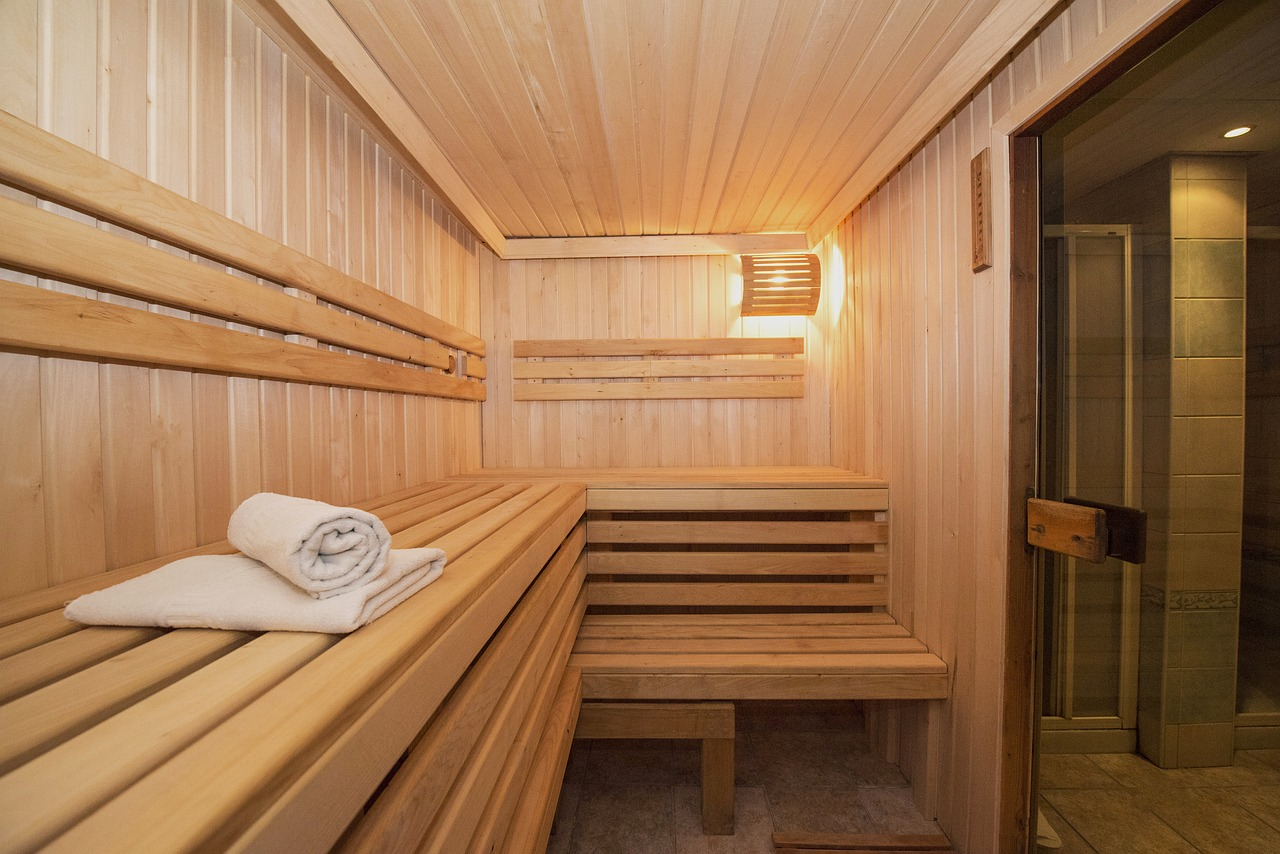 Interior of a wood paneled spa room.