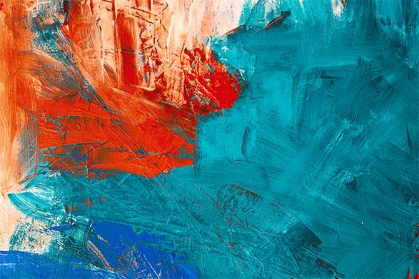 Abstract painting with orange and blue brush strokes