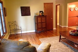 A living room with wood floors and carpet.