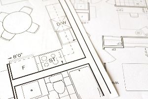 A drawing of a floor plan focused on the kitchen.