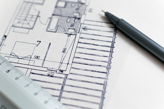 A draft of an architect's floor plan for a house.