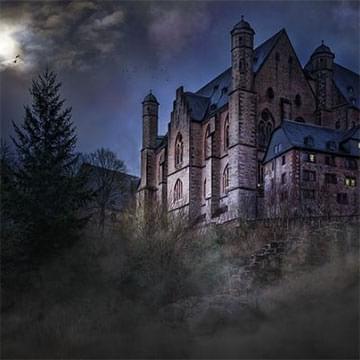 large imposing building with dark lighting