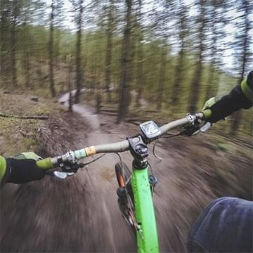 mountain trail from the biker's point of view