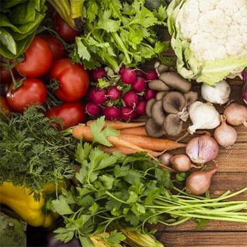 brightly-colored fresh vegetables