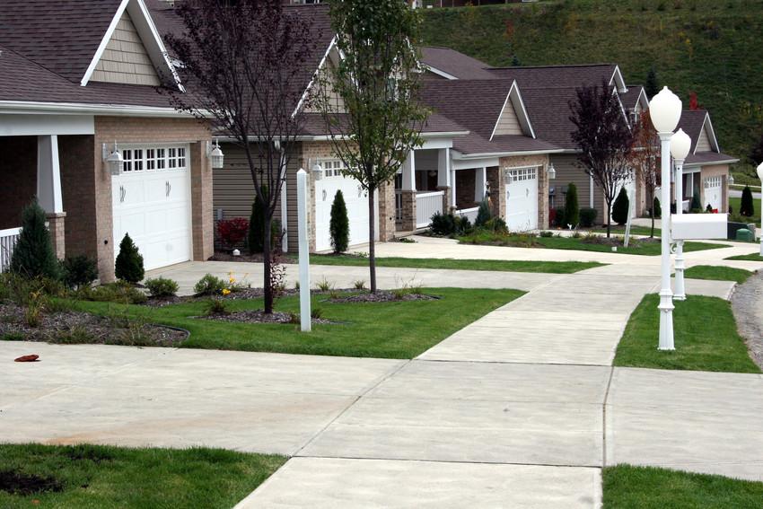 quiet neighborhood lined in sidewalks