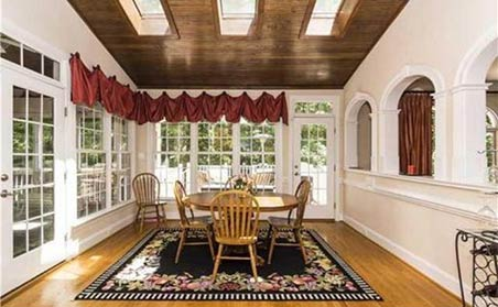 clean dining room with updated curtains and no personal items