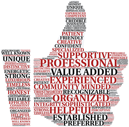 thumb icon with various words including professional, experienced, and supportive