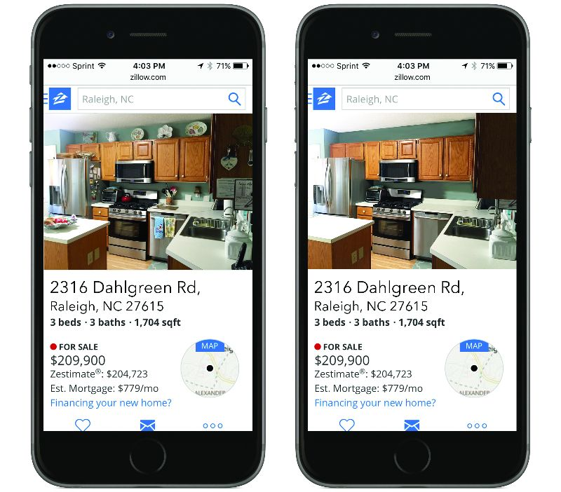 mobile phone comparing cluttered kitchen with decluttered kitchen on a raleigh listing