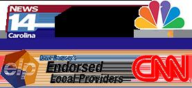 Logos of news stations: News 14 Carolina, HGTV, NBC17, elp, CNN
