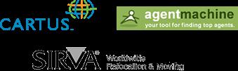 Logos of relocation services: Cartus, agent machine, Sirva