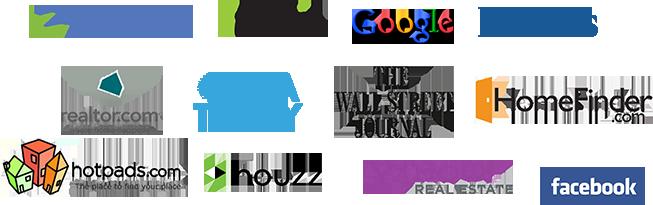 Logos of search platforms: Zillow, trulia, Google, Forbes, realtor.com, USA Today, The WSJ, HomeFinder.com, HotPads.com, Houzz, Yahoo! Real Estate, Facebook