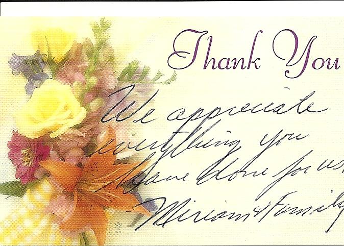 Miriam Thank You Note