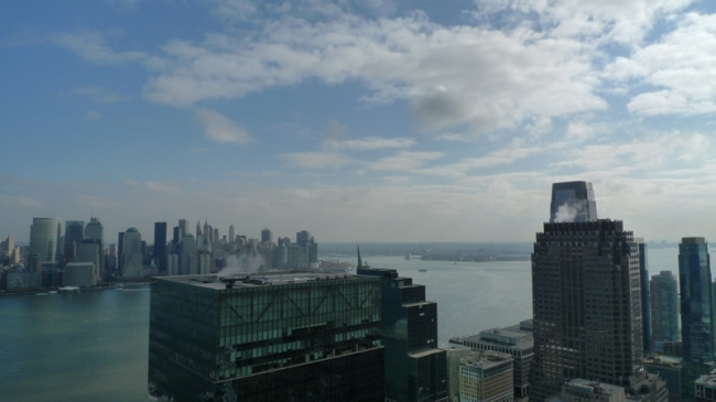 Amazing View of New York Skyline from Trump Plaza in Jersey City, NJ