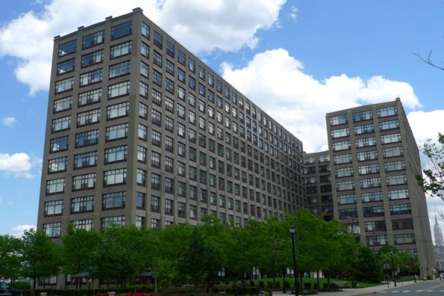 Pedestrian View of the Hudson Tea Building in Hoboken, NJ