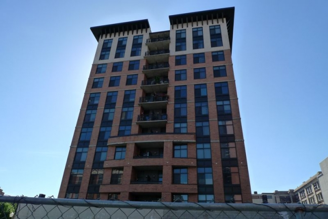 The Hoboken Grande condo building stands 11 stories and offers 67 units.
