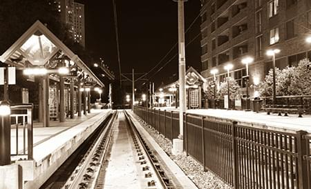 train platform at night