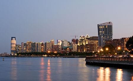 waterfront at dusk