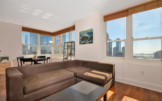 Living Room & Dining Area with NYC views