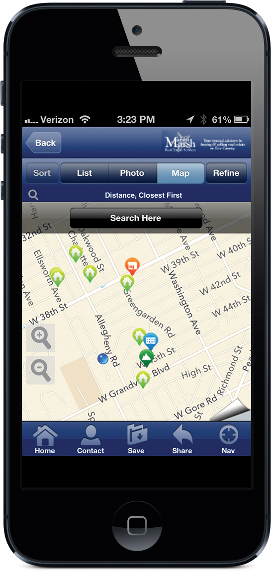 """""""Search Erie Homes"""" app map feature on iPhone"""