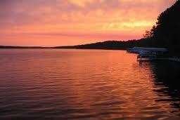 beautiful red lake at sunset