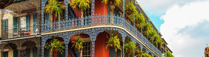 wrought-iron balcony with ferns