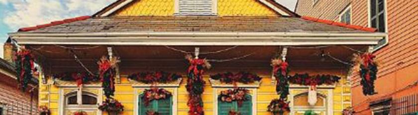 yellow house with decorations