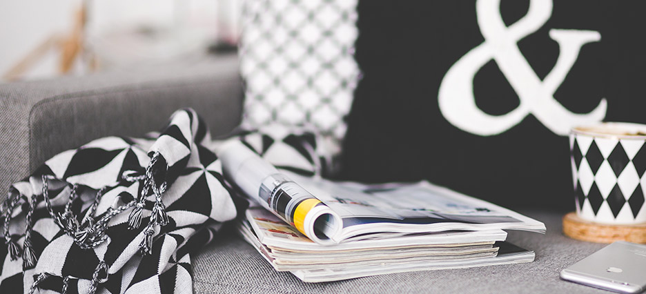 newspaper in a staged living room
