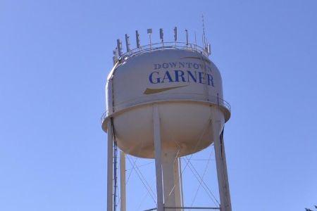 """downtown garner"" on water tower"