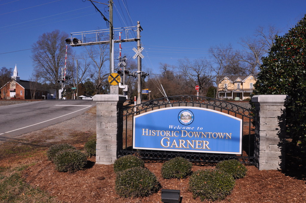 """""""welcome to Historic Downtown Garner"""" sign"""