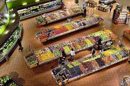 aerial view of produce shelves at grocery store