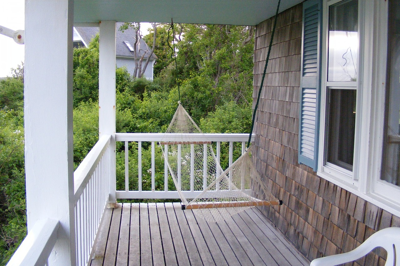Front porch with a hammock.